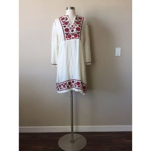 Lucky Brand 3/4 Sleeve Embroidered Peasant Dress